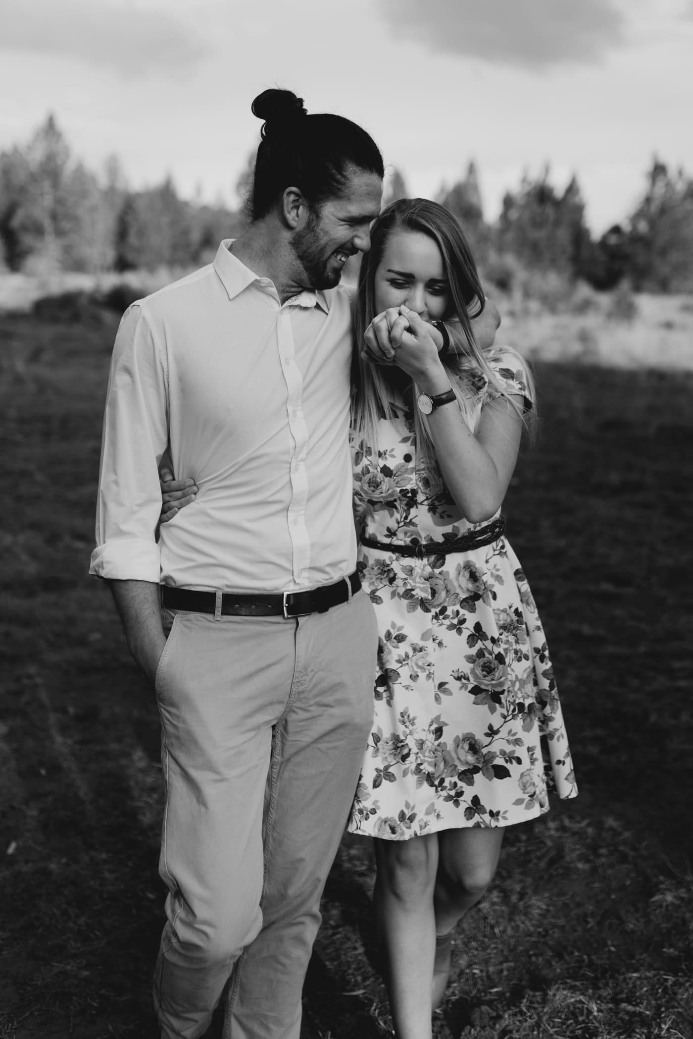 Black and white pretoria engagement picture