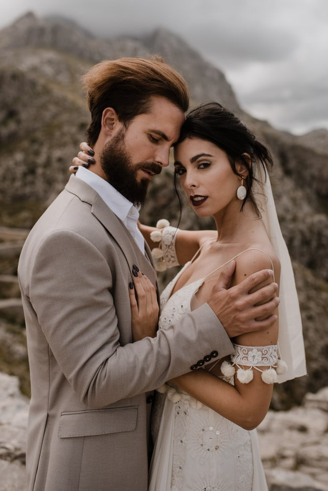 a couple on their wedding day in majorca
