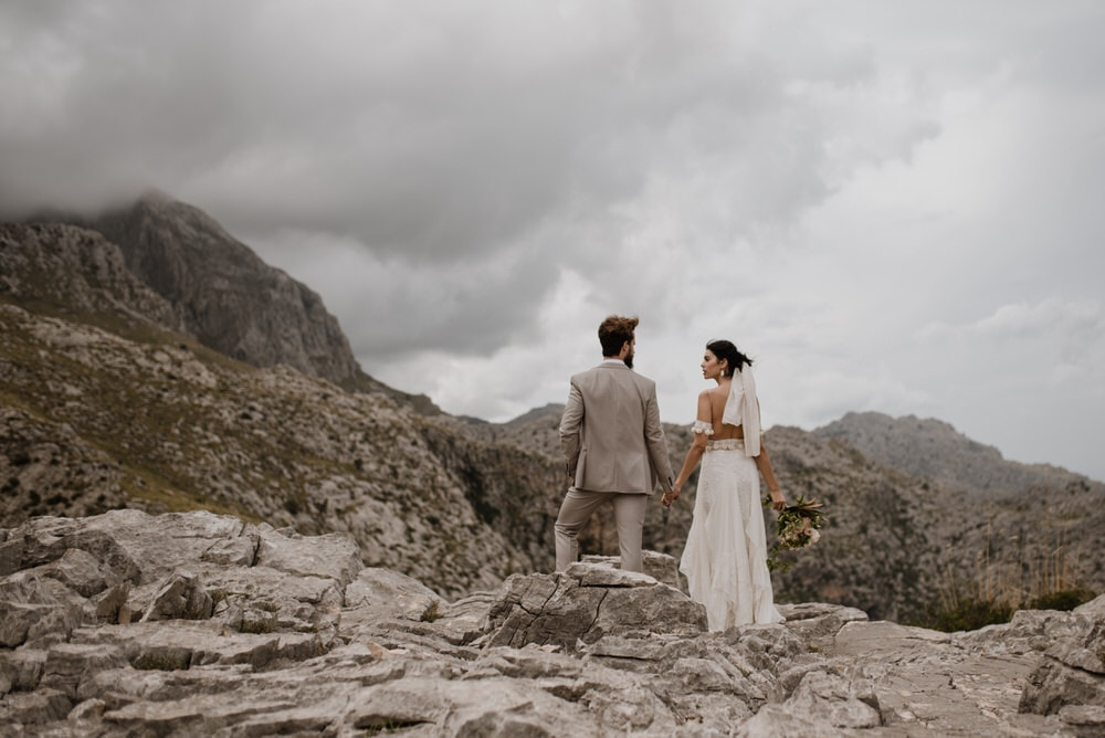 bride and groom admiring the view