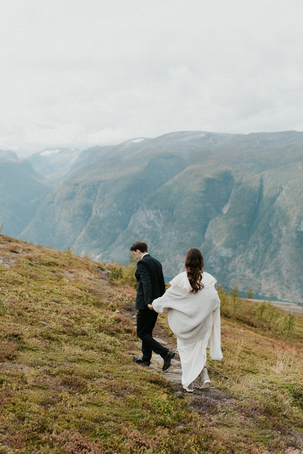 adventurous norway elopement with a wedding day hike
