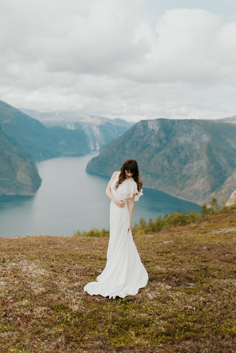 adventure bridal portrait wedding dress