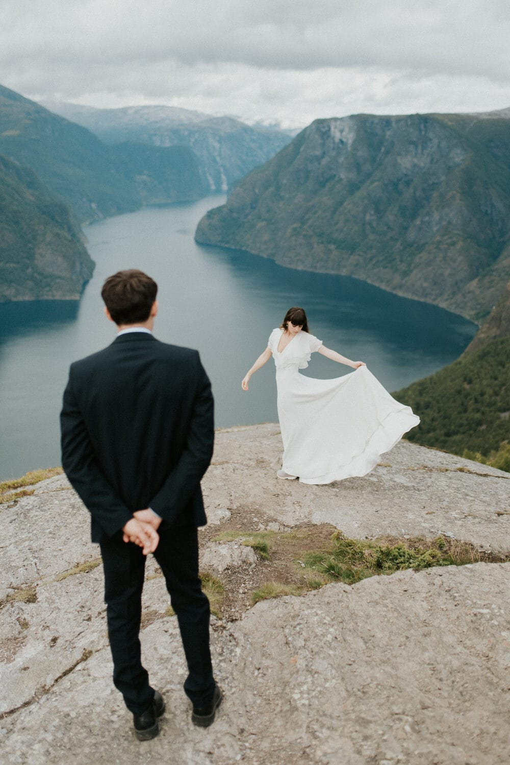 bride and groom first look outdoor adventure elopement