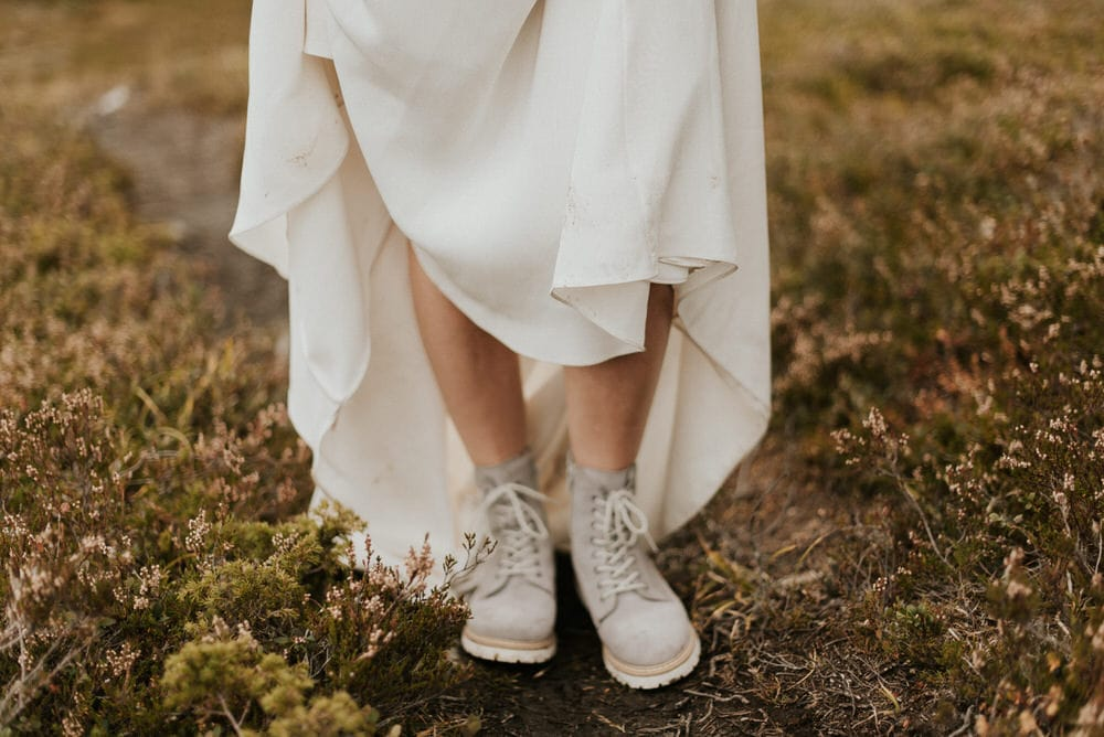 Bride wedding shoes for hiking