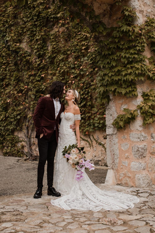 A bride in Rue de Seine a Modern Bohemian wedding dress in Mallorca Spain