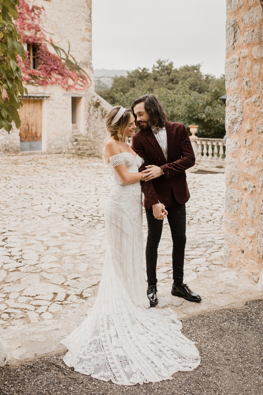 A bride in Rue de Seine a Modern Bohemian wedding dress