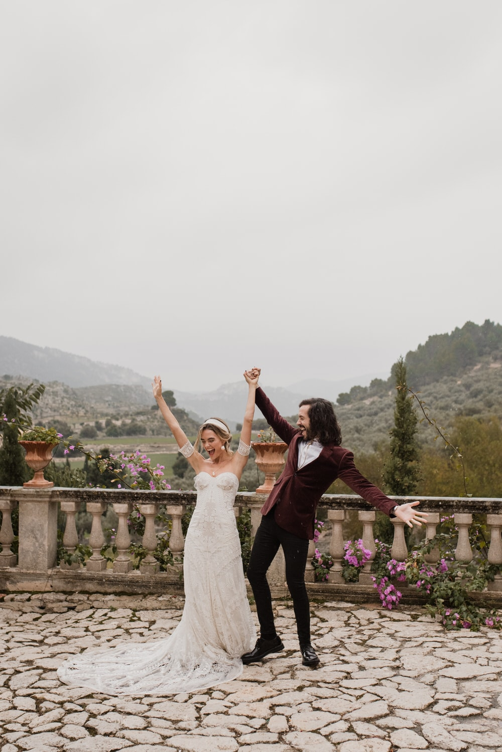 A couple celebrating their elopement in Mallorca, Spain