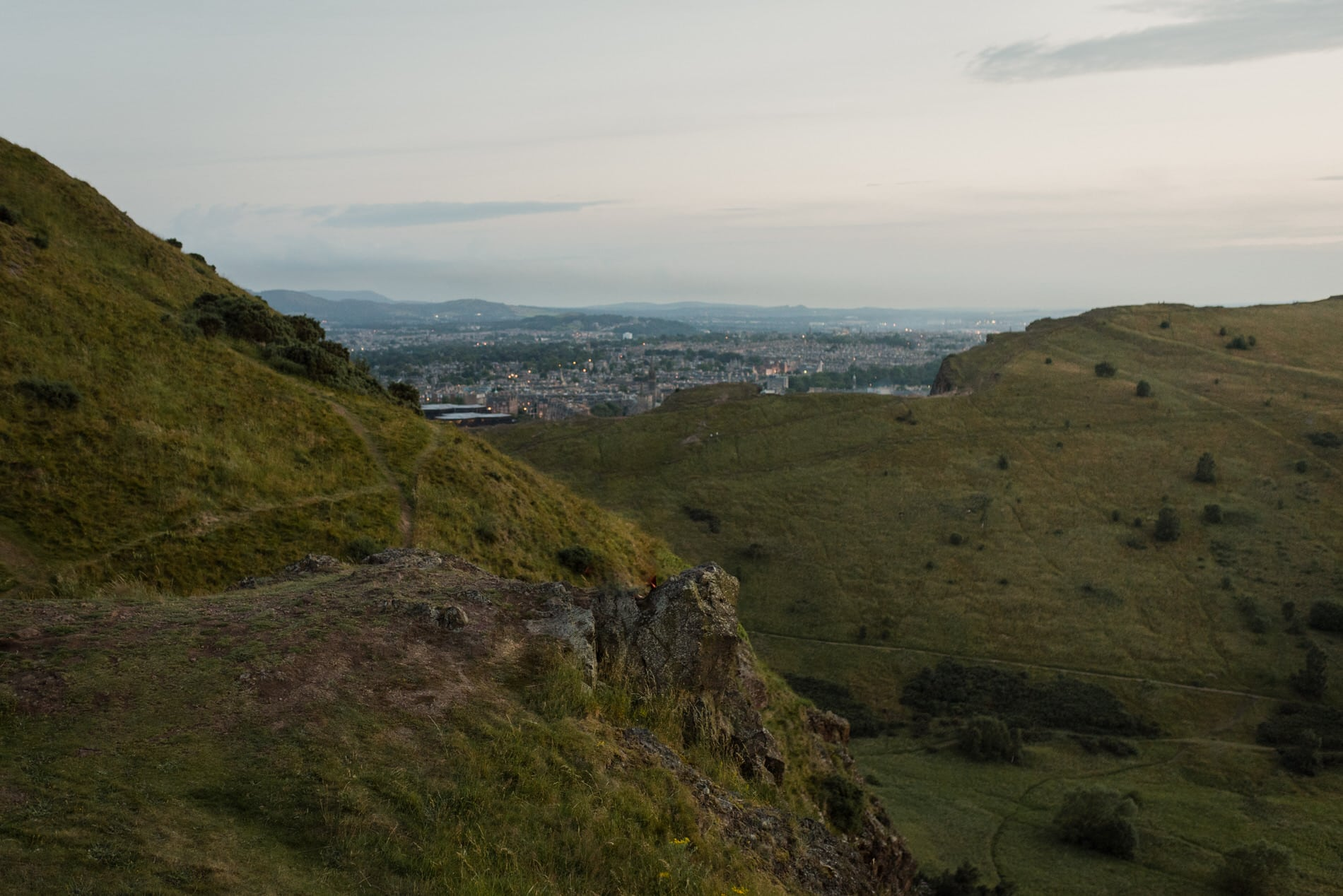 view at Arthurs seat in holyrood park edinburgh