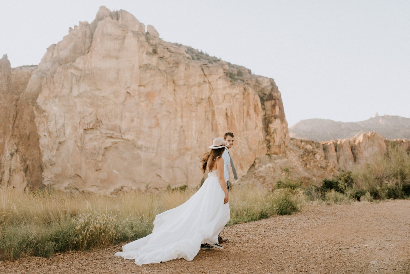 A couple getting married at Smith Rock State Park